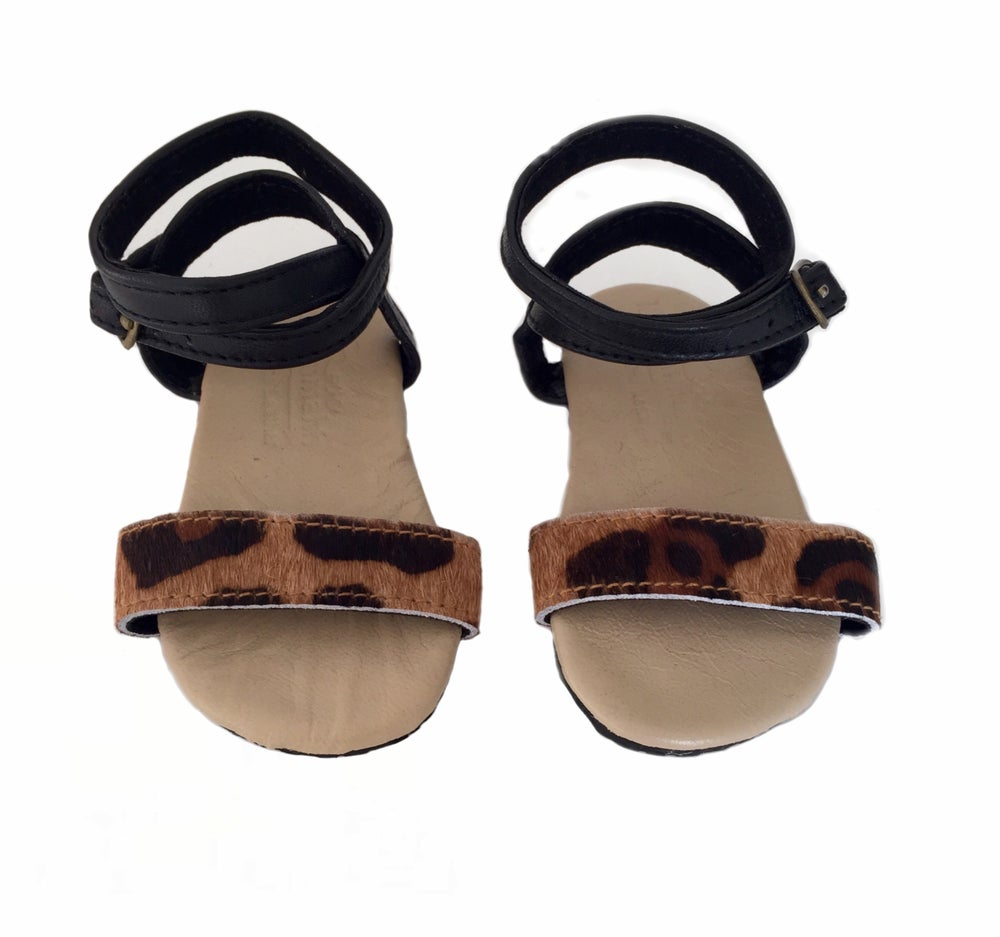 Image of Gypsy sandal -Leopard and black