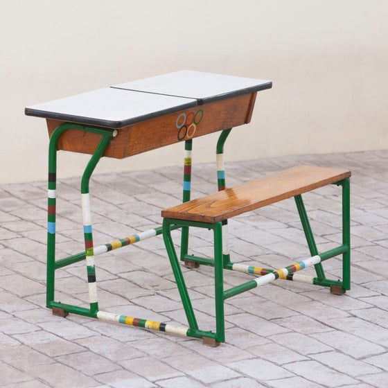 Image of Pupitre de escuela de dos plazas