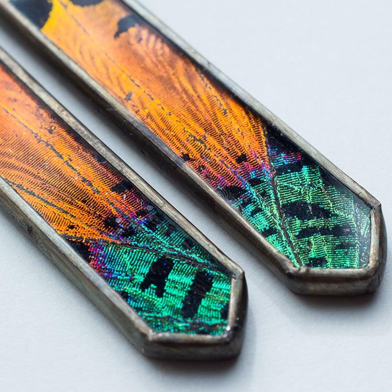 Image of Hart-Variations Dagger Sunset Moth Earrings