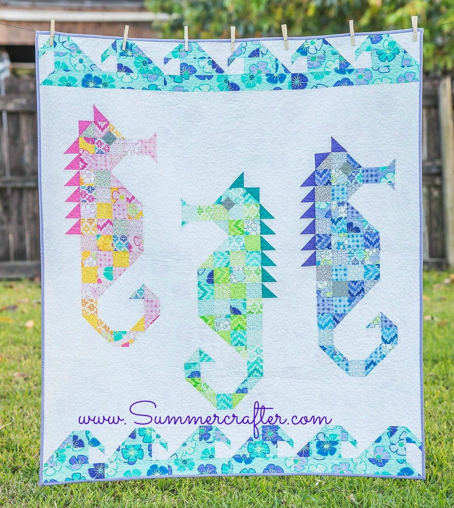 Image of Paper Pattern Watercolor Sea Horses