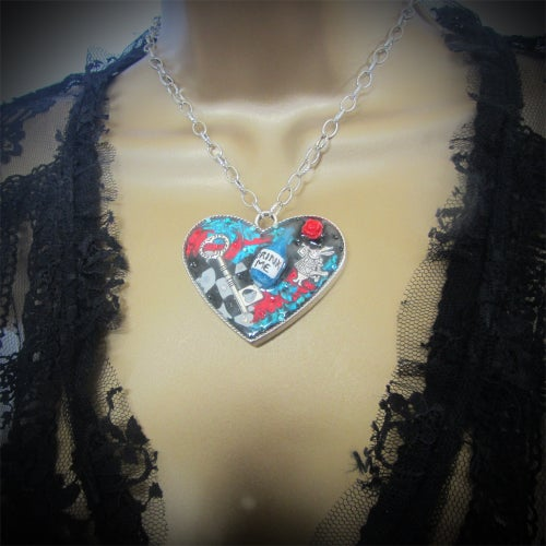Image of Alice's Drink Me Large Heart Pendant