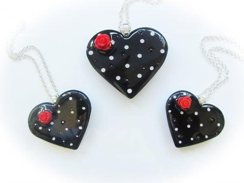 Image of Black & White Spot Retro Heart Pendant