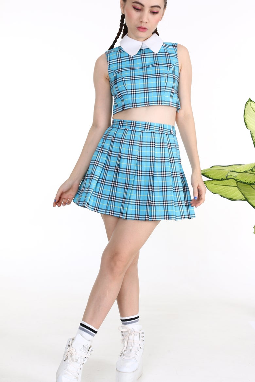 Image of Made To Order - As If Sleeveless Set in Blue Tartan