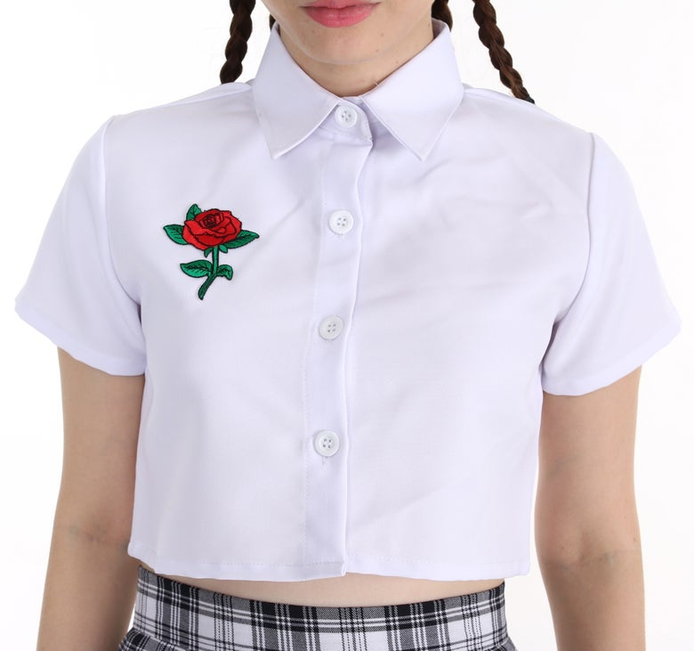Image of Ready To Post - Rose Collar Crop in White