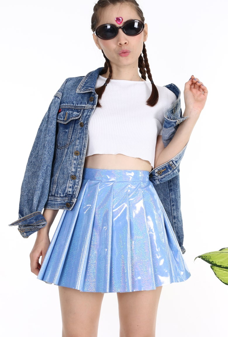 Image of Made To Order - Blue Hologram Pleated Skirt by GFD