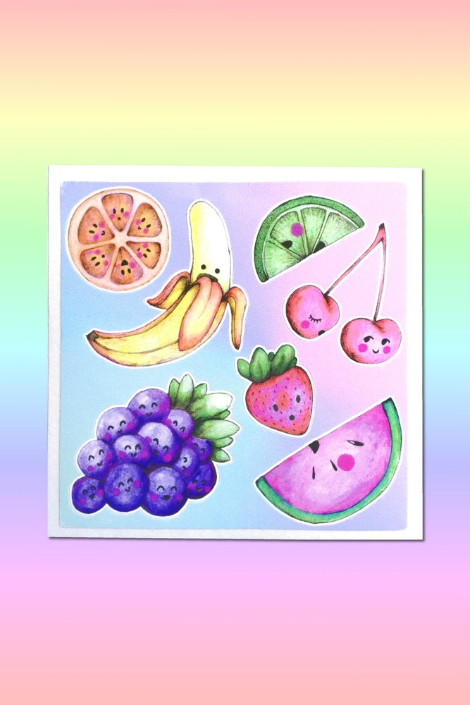 Image of EMOTIONAL FRUIT STICKER SHEET