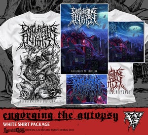 Image of ENGORGING THE AUTOPSY - white shirt CD package