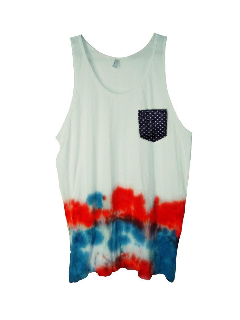 Image of American Summer Tie Dye Color Block Tank