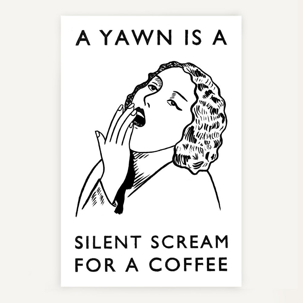 Image of 'Silent scream for a coffee' tea towel