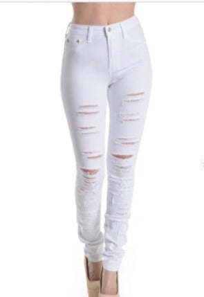 White Ripped High Waisted Jeans - Xtellar Jeans