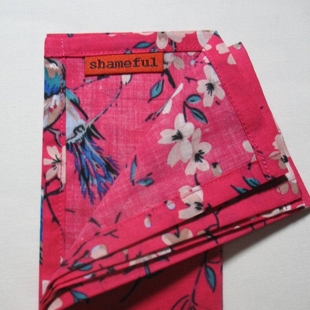 Image of NEW - Handkerchief pink with turquoise birds