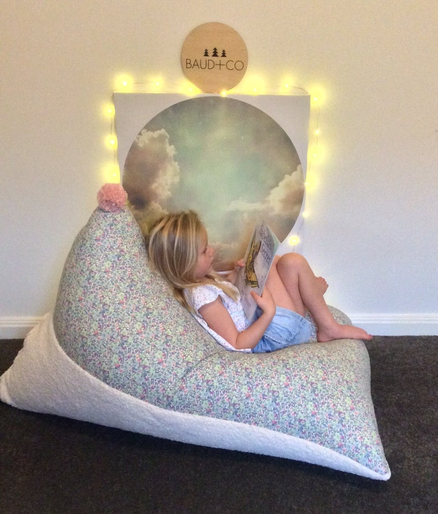 Image of Pom Pom Bean Bag -Floral - Email to Custom Order