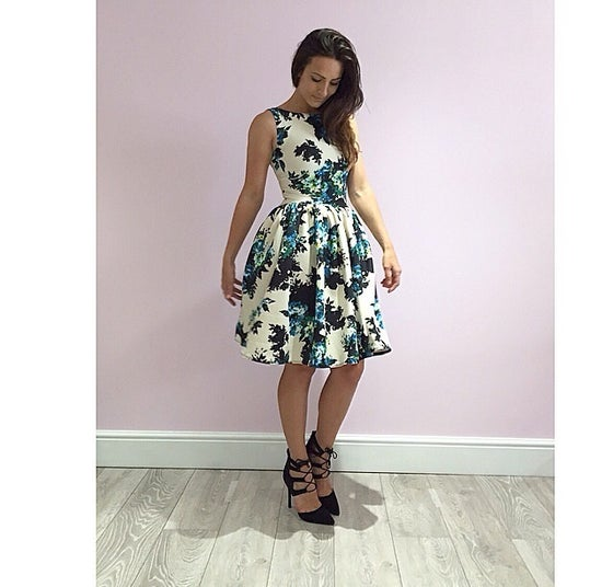 Image of Abstract Floral Full Skirt Dolly Dress
