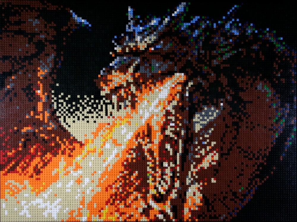 """Image of Custom LEGO Mosaic - Firebreather, 40""""x30"""""""