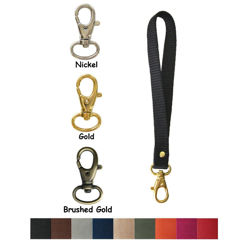 "Image of Nylon Webbing Wristlet Strap - 0.5"" (half-inch) Wide - Your Choice of Color & Attachable Hook #8"