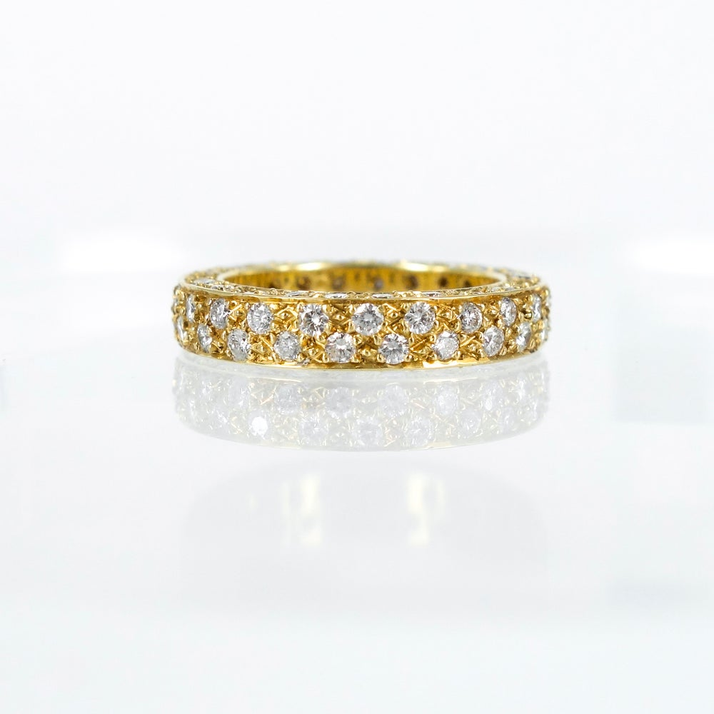 Image of 18ct yellow gold Pave set dress ring