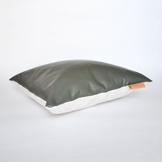 Image of Leather Tab Cushion Cover - Olive Square