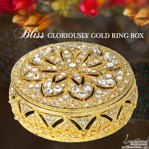 Image of Swarovski Crystal Engagement Ring Box Gloriously Gold