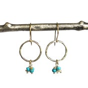 Image of Organic silver hoop earrings turquoise South Sea keshi pearls mixed metal