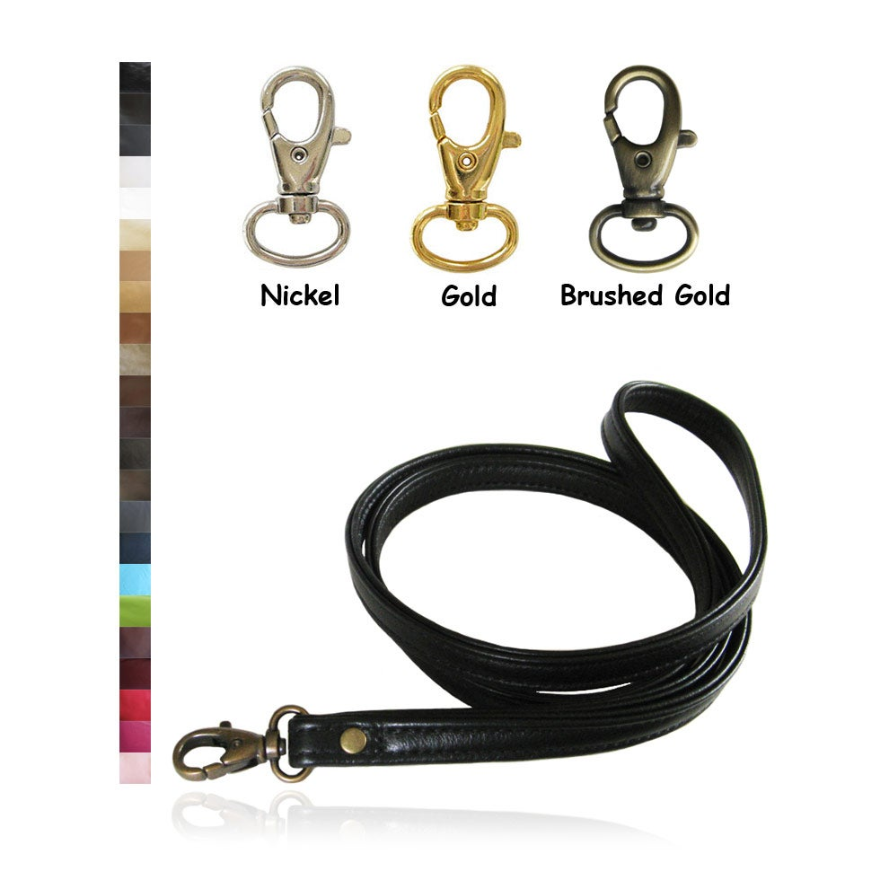 "Image of Custom Genuine Leather Lanyard - 1/2"" Wide - Choice of 25 Colors & Lobster Clasp / Swivel Hook #8"