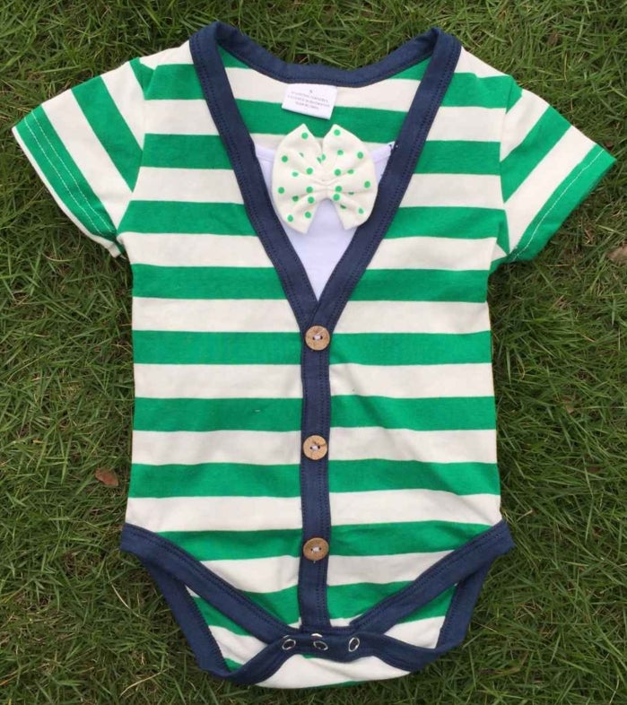 Image of Short Sleeve Baby Boy's Bow Tie Cardigan Onesie, Striped Green and Navy Blue
