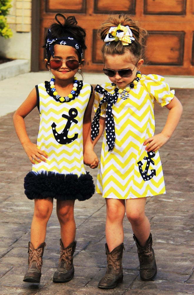Image of Anchor Yellow & Blue Boutique Ruffle Dress/Tunic, Girl Summer Dress, Navy Dress