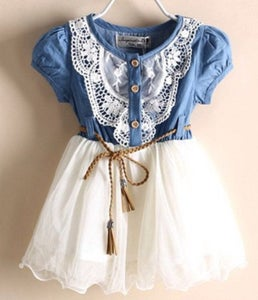 Image of Denim and Lace Country Cowgirl Dress with Leather Tie Belt; Cowgirl Outfit