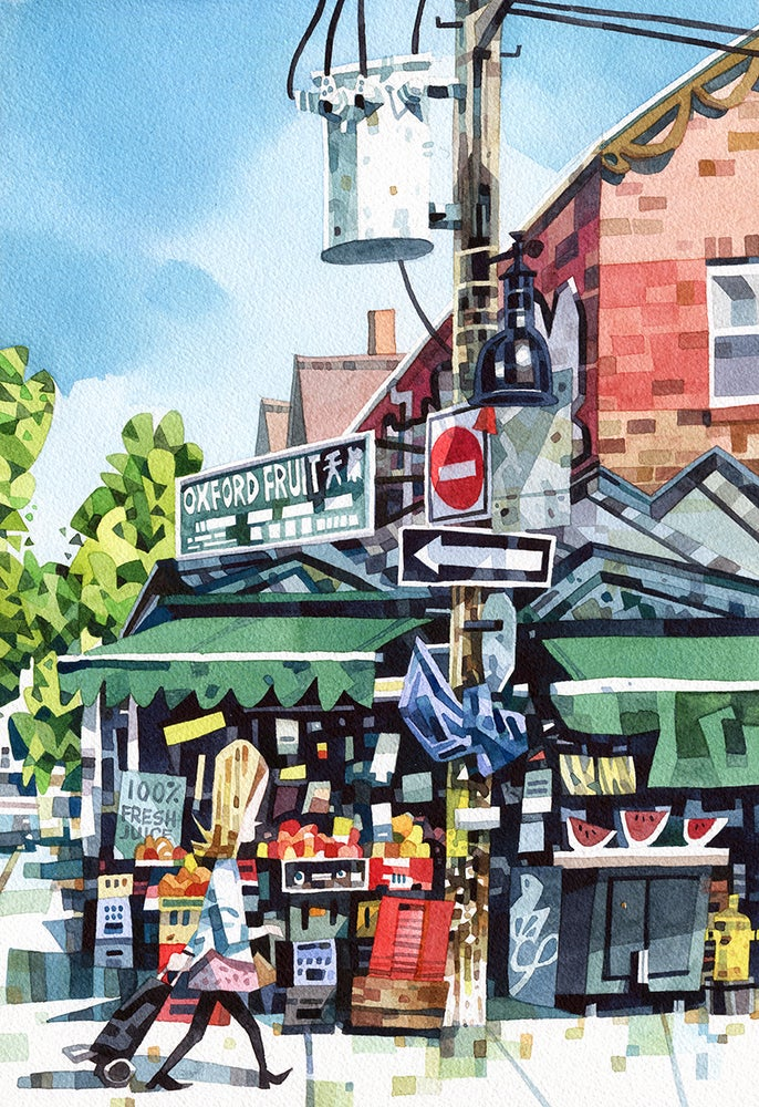 Image of Toronto Street Corner Watercolour Print