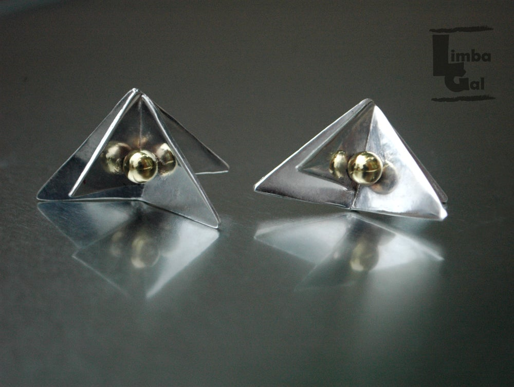 Image of Reflections: Geometric Stud Earring with Golden Sphere detail.