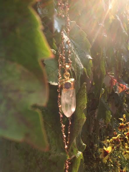 Image of Protection while building your Immune System ~ Crystal Quartz with Druzy and Pyrite Chain