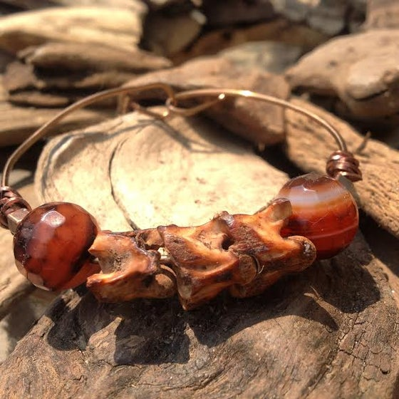 Image of Kundalini Energy Snake Vertabrae (cruelty free) and Agate Wire Brass Bracelet