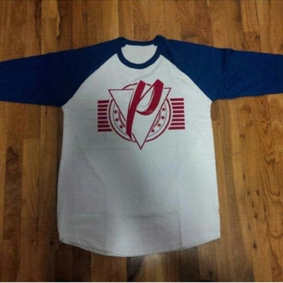 Image of P96 logo 3/4 Tee (White/Navy)