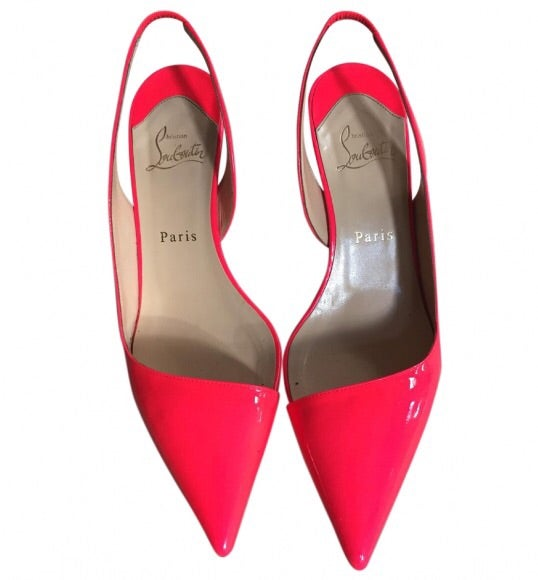 Image of Christian Louboutin Miss Penniman Parent leather slingbacks