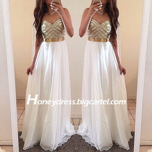 Image of White Chiffon Sweetheart Gold Beaded Prom Dress Hot Sale