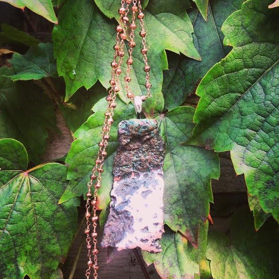 Image of Stunning Natural Michigan Float Copper Statement Piece and Pyrite Chain Necklace