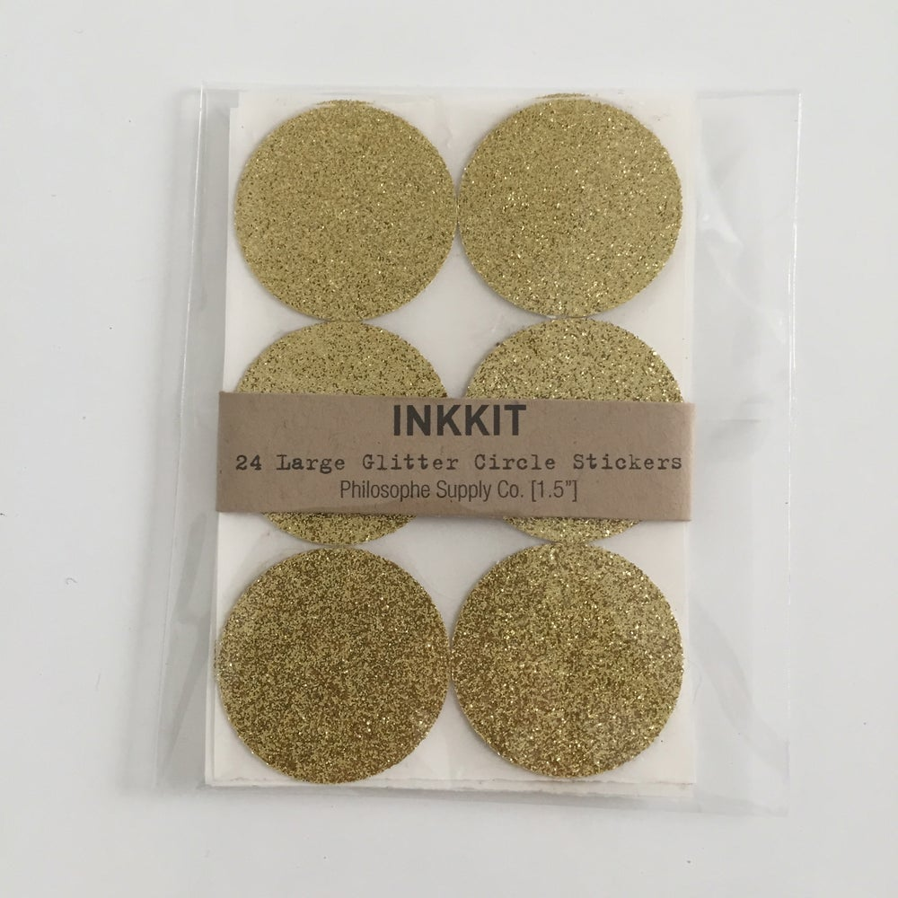 Image of Circle Glitter Stickers | Gold