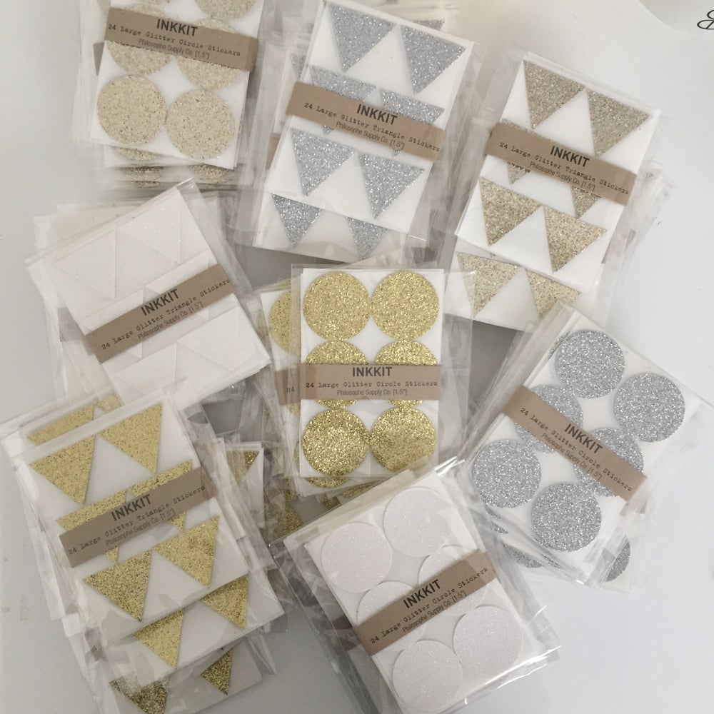 Image of Triangle Glitter Stickers | Silver