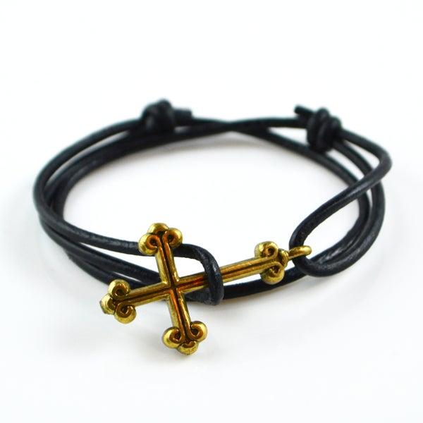 Image of Gothic Cross Leather Bracelet
