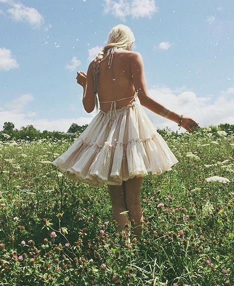 Image of CUTE BACKLESS LACE PATCHWORK DRESS LACE-UP BEACH HOLIDAY DRESS