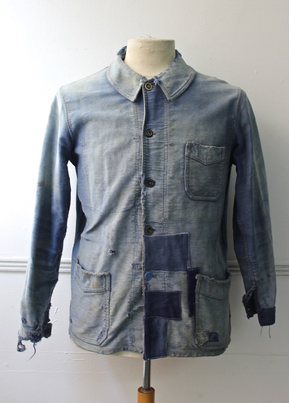 Image of 1920'S FRENCH BLUE MOLESKIN WORK JACKET FADED & PATCHED