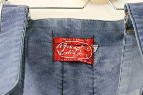 Image of 1950'S FRENCH INDIGO MOLESKIN OVERAL FADED & PATCHED