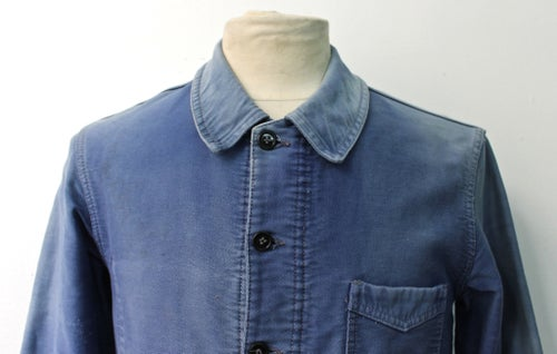 Image of 1940'S FRENCH BLUE MOLESKIN WORK JACKET FADED 2