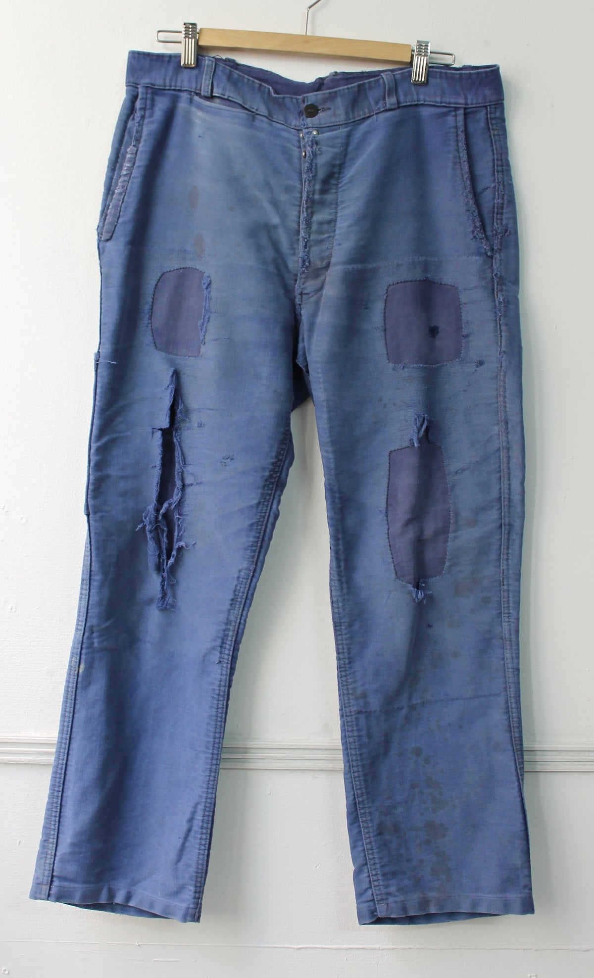 Image of 1940'S FRENCH BLUE MOLESKIN PANTS FADED & PATCHED モールスキンパッチワークパンツ