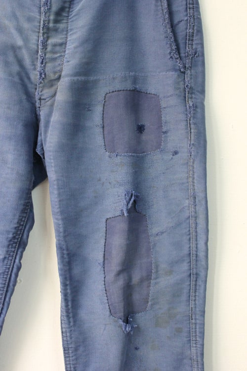 Image of 1940'S FRENCH BLUE MOLESKIN PANTS FADED & PATCHED