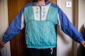 Image of 80s Blue & Green Patterned Sport Jacket - L