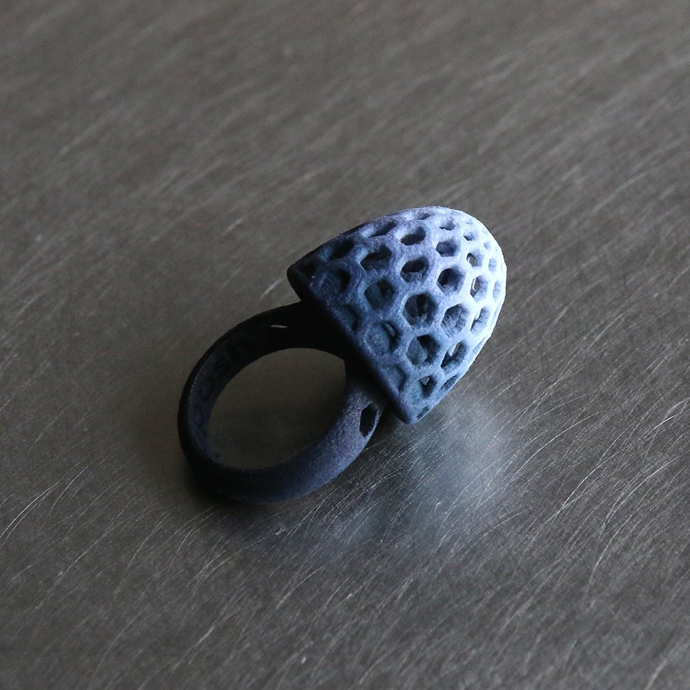 Image of 3D printed rings Delft Blue
