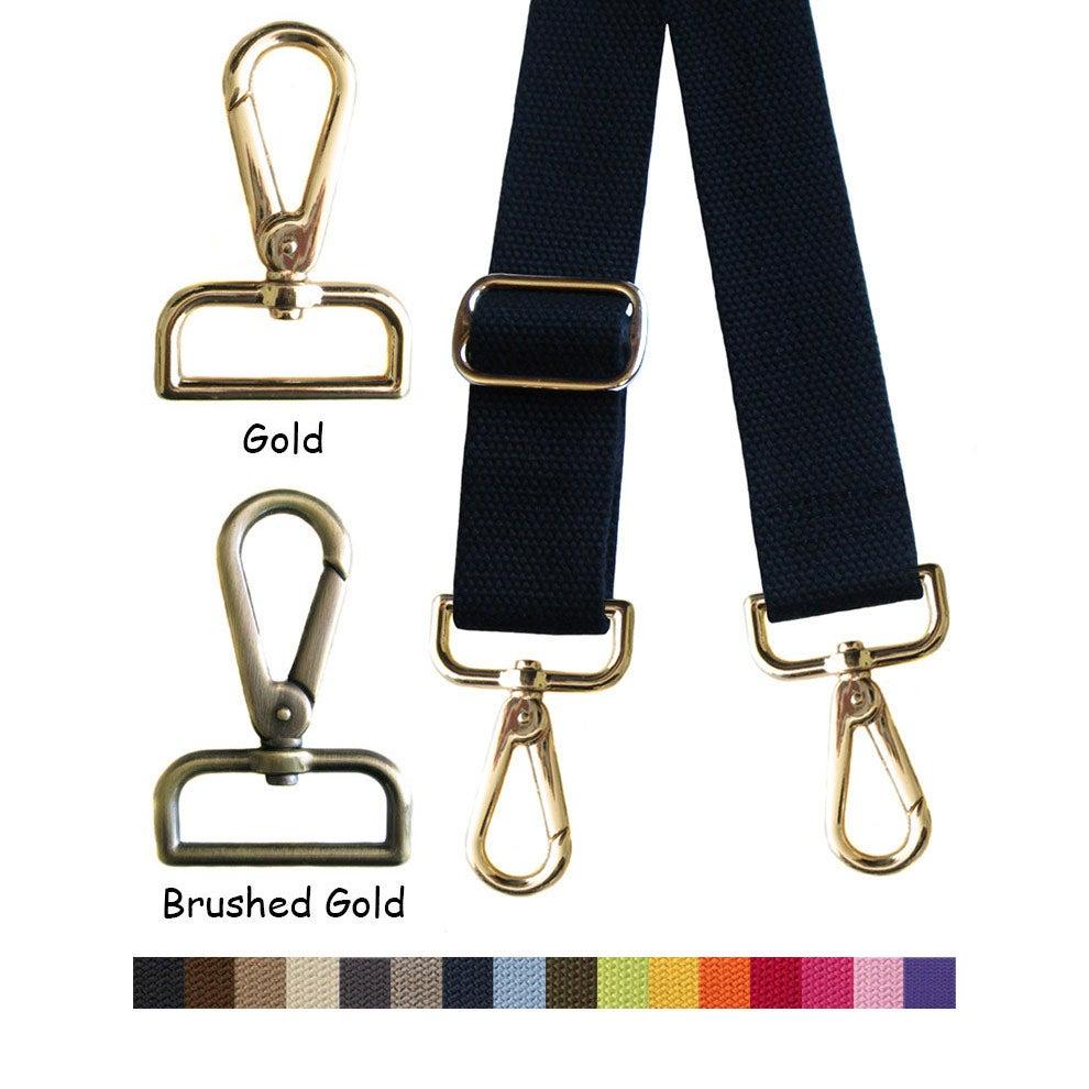 """Image of Cotton Canvas Webbing Strap - Adjustable - 1.5"""" Wide - Choose Color, Length & Gold/Brushed Gold #14"""