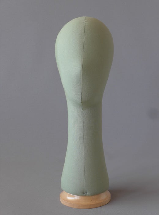 Image of Poupee Millinery Head with long neck (green) /Canvas Hat Form