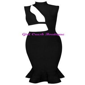 "Image of ""Christina"" Black Puzzle Cut Out Bandage Dress"