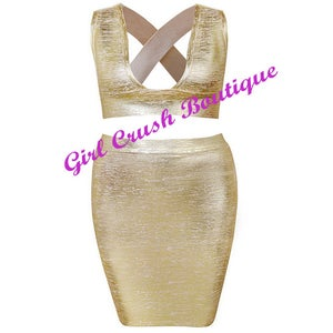 "Image of ""Jasmine"" Gold Metallic Bandage Two Piece Top and Skirt Duo Set"